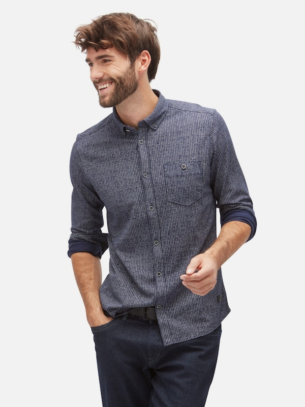 TOM TAILOR Shirt / Blouse gemustertes Hemd mit Brusttasche