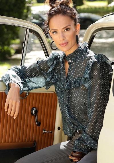 LASCANA Bluse in dunkelgrün / weiß, Modelansicht