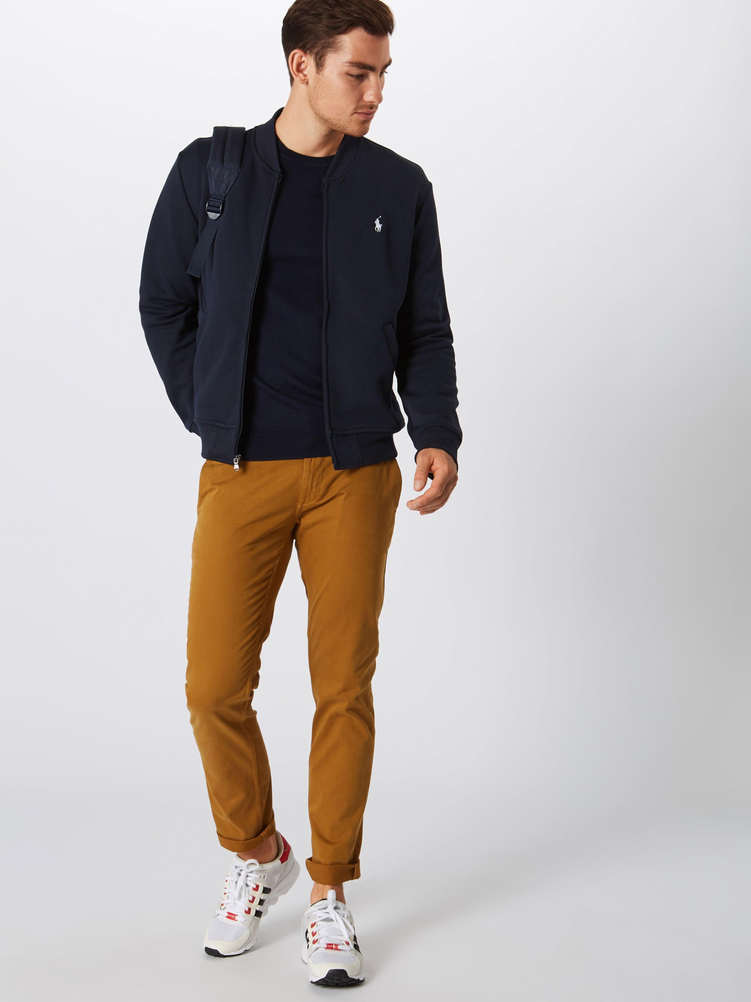 'lsbomberm3 Polo Sleeve Navy Sweatjacke knit' Lauren In Ralph long nvwm8ON0