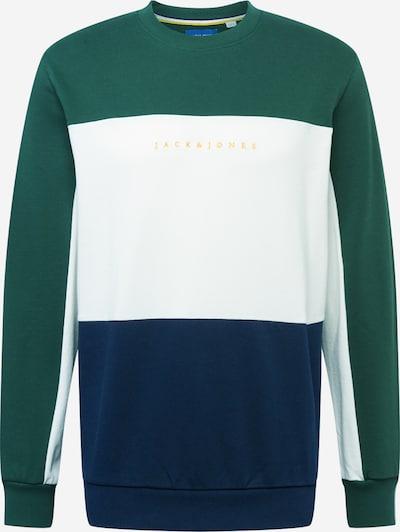 JACK & JONES Sweater majica u tamno plava / zlatna / tamno zelena / prljavo bijela, Pregled proizvoda