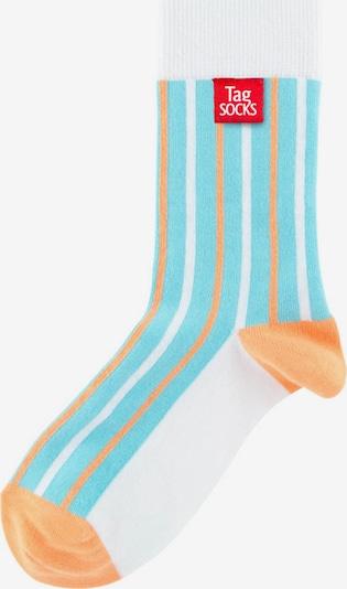 Tag SOCKS Chaussettes 'Stars & Stripes' en bleu clair / orange / blanc, Vue avec produit