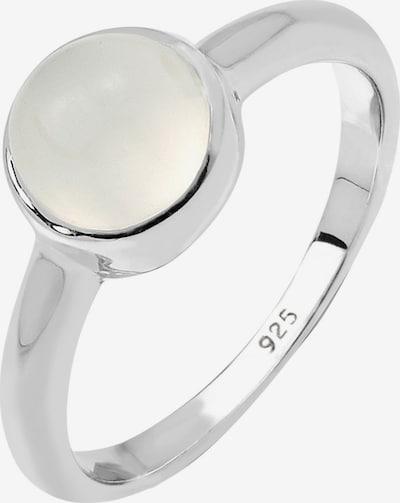 ELLI Ring in de kleur Zilver / Wit: Vooraanzicht