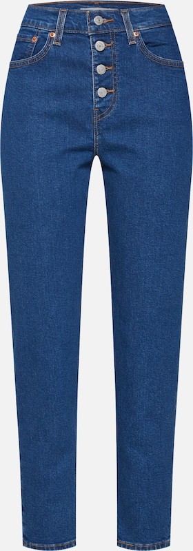 LEVI'S Jeans 'EXPOSED BUTTON MOM JEAN' in blue denim: Frontalansicht