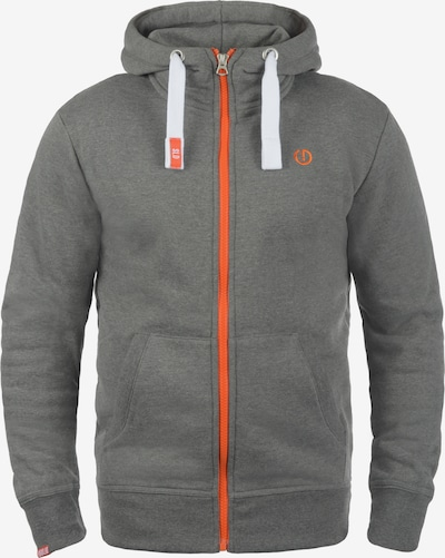 !Solid Kapuzensweatjacke 'Benn High-Neck' in grau / orange / weiß: Frontalansicht