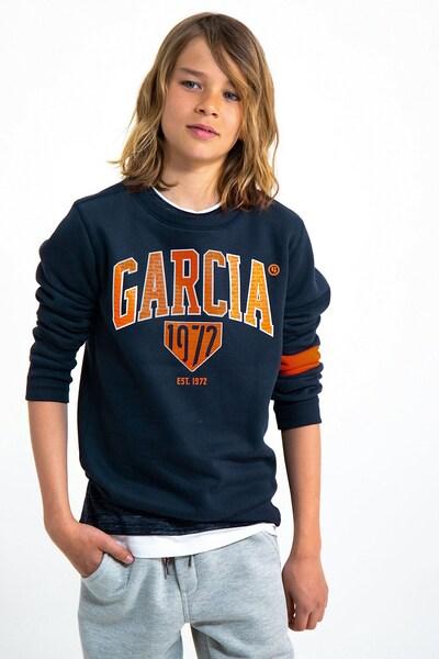 GARCIA Sweatshirt in nachtblau / dunkelorange / weiß: Frontalansicht