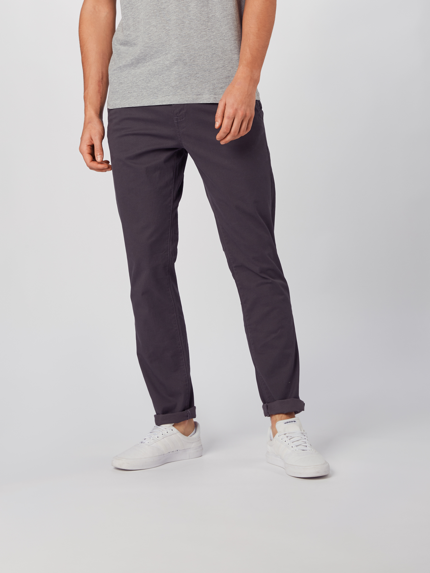 TOM TAILOR DENIM Chino 'slim chino printed with belt' in Donkergrijs jJpCyYGl