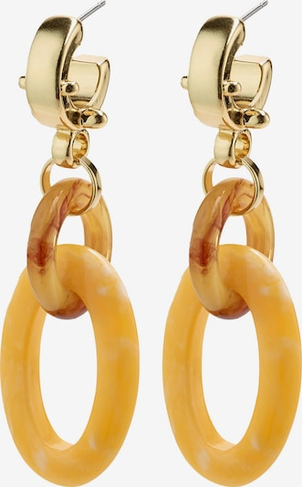 Pilgrim Náušnice - hnědá / žlutá / zlatá, Produkt