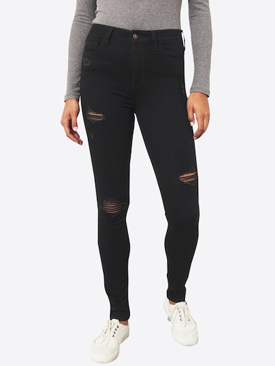 HOLLISTER Jeans 'BLACK DESTROY HRSS E' in black denim, Modelansicht