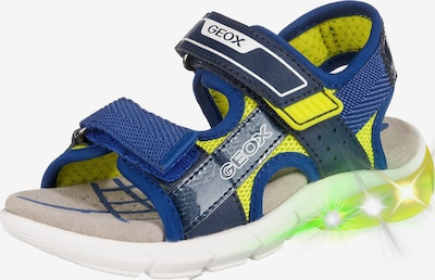 GEOX Sandalen 'Blinkies Flexyper' in blau / gelb, Produktansicht
