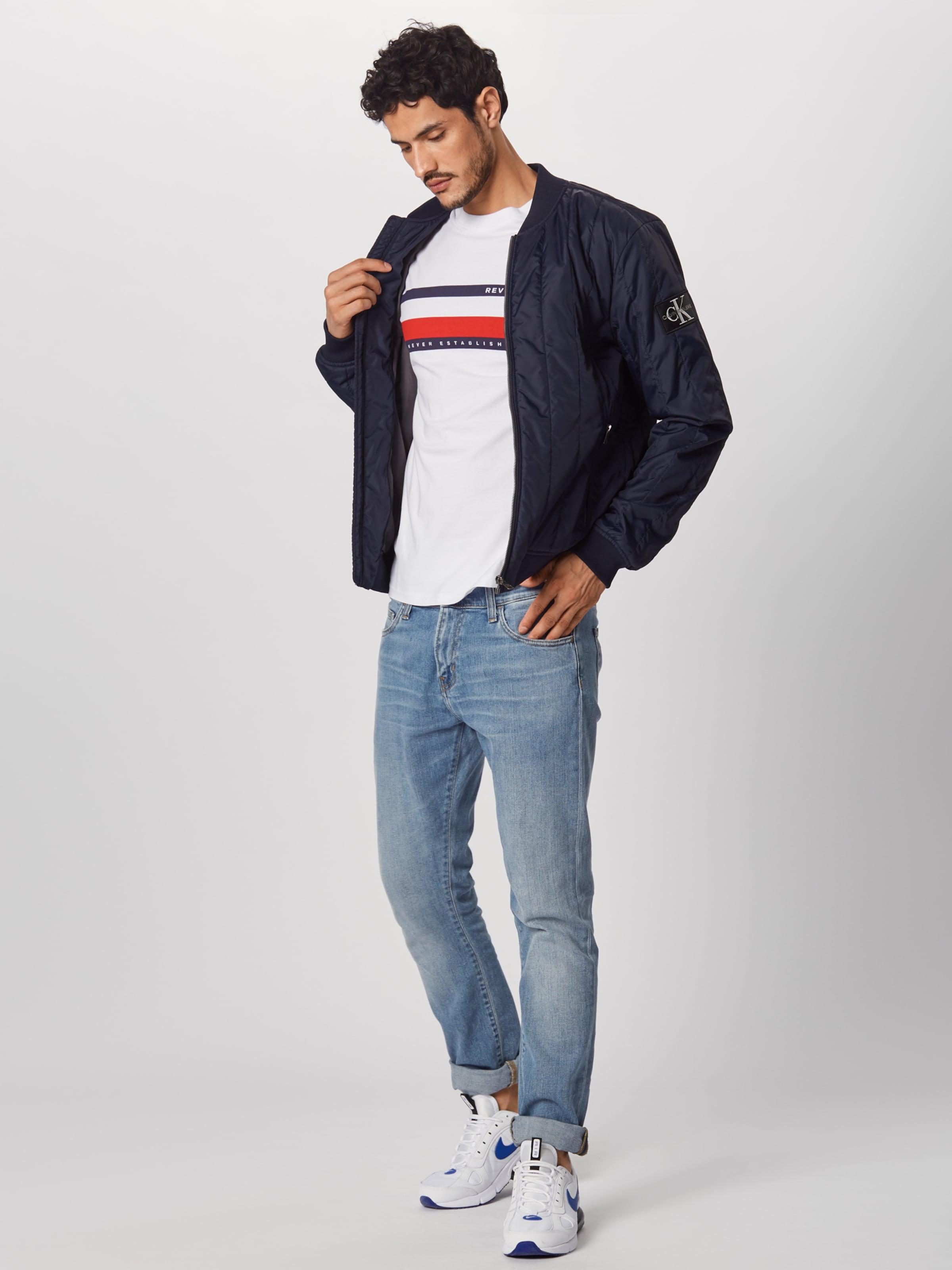 shirt FoncéRouge En Review Stripe 'h Tee' T Bleu Blanc CBordxeW