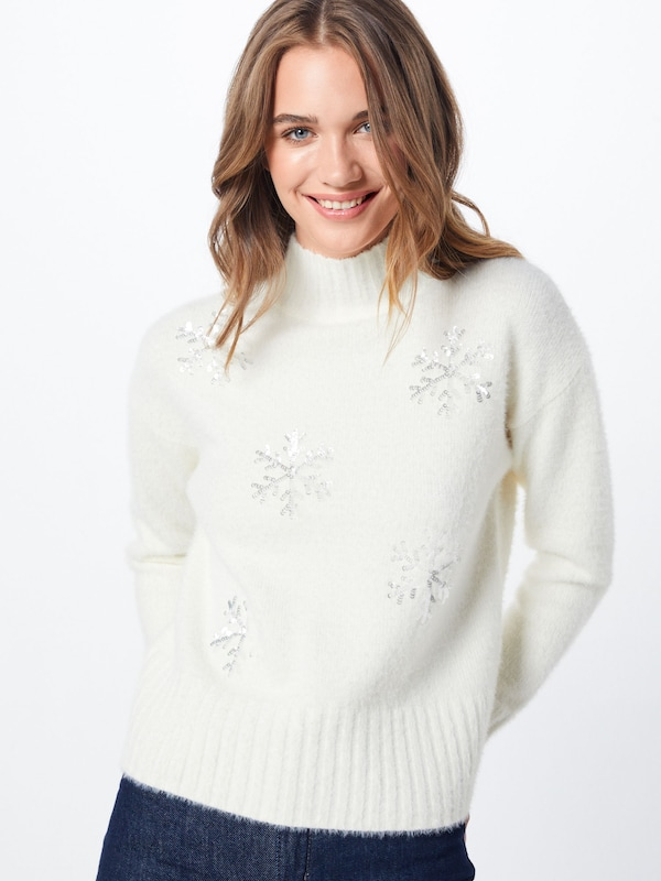 Fashion Union Pullover 'SNOWFLAKE' in creme: Frontalansicht