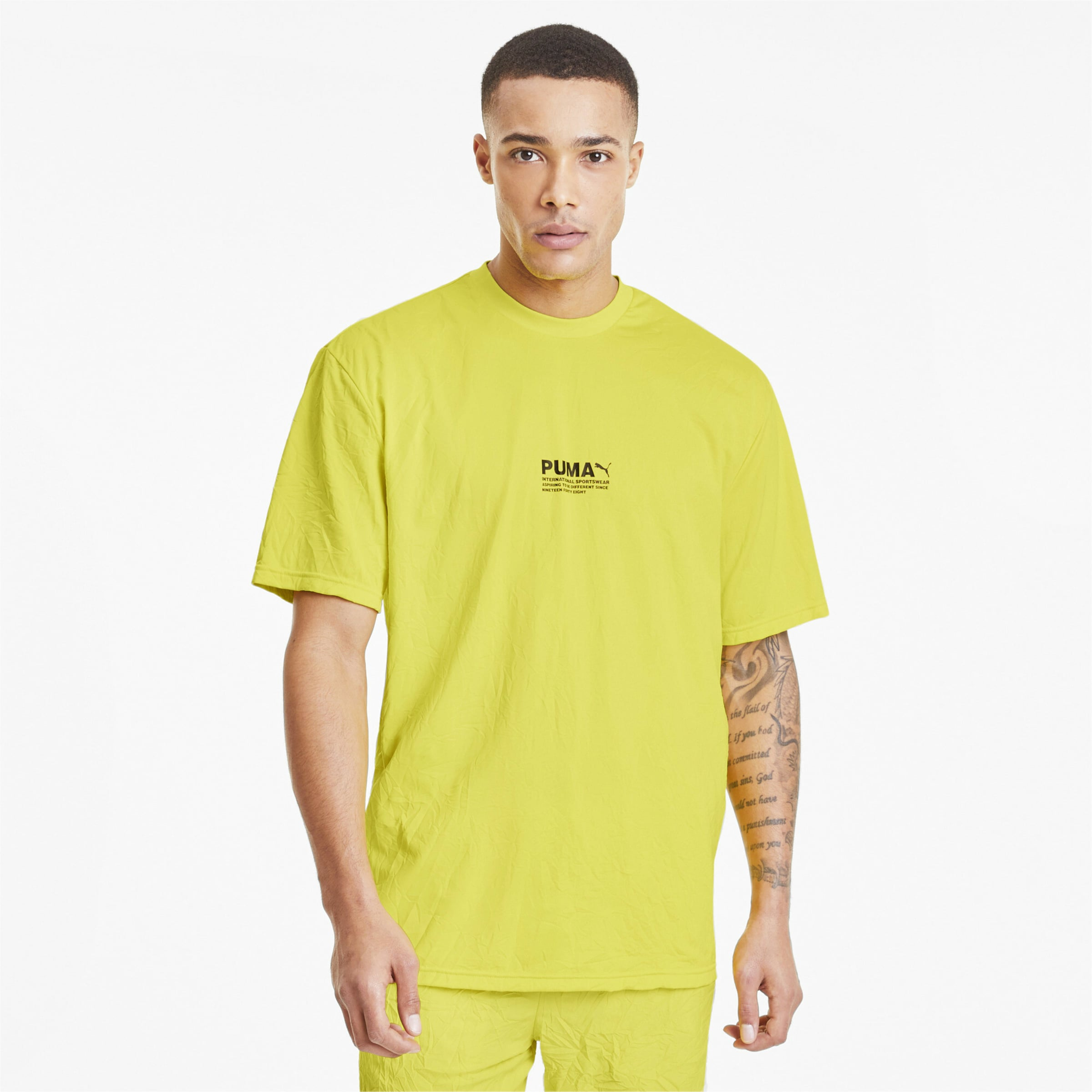 PUMA Shirt 'Avenir' in neongelb Rundhals-Ausschnitt 4062451055301