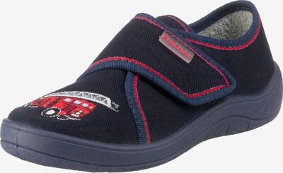Fischer-Markenschuh Hausschuh in navy / nachtblau / rot / weiß, Produktansicht