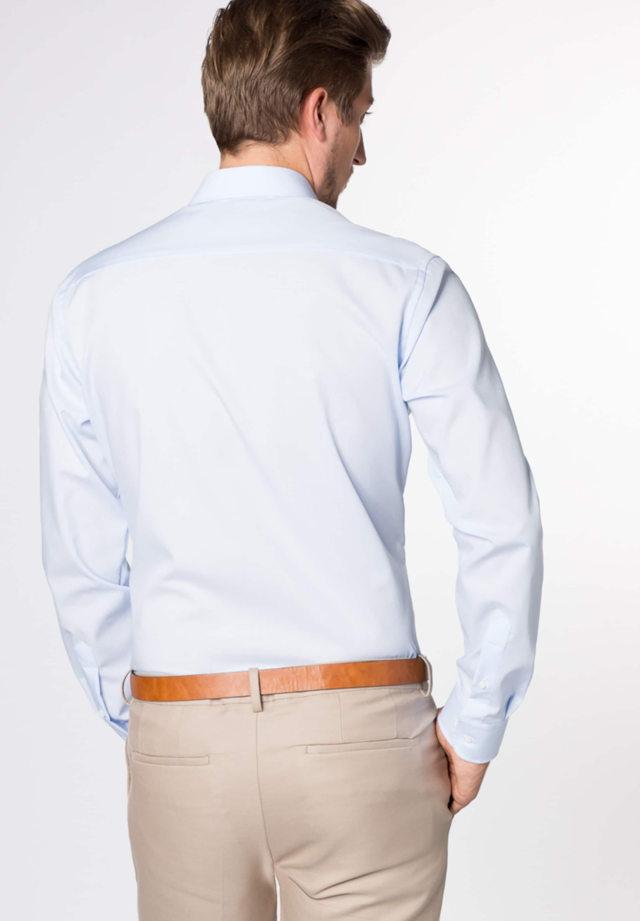 Eterna In Langarm Hemd Slim Blau Fit XuPkZiO