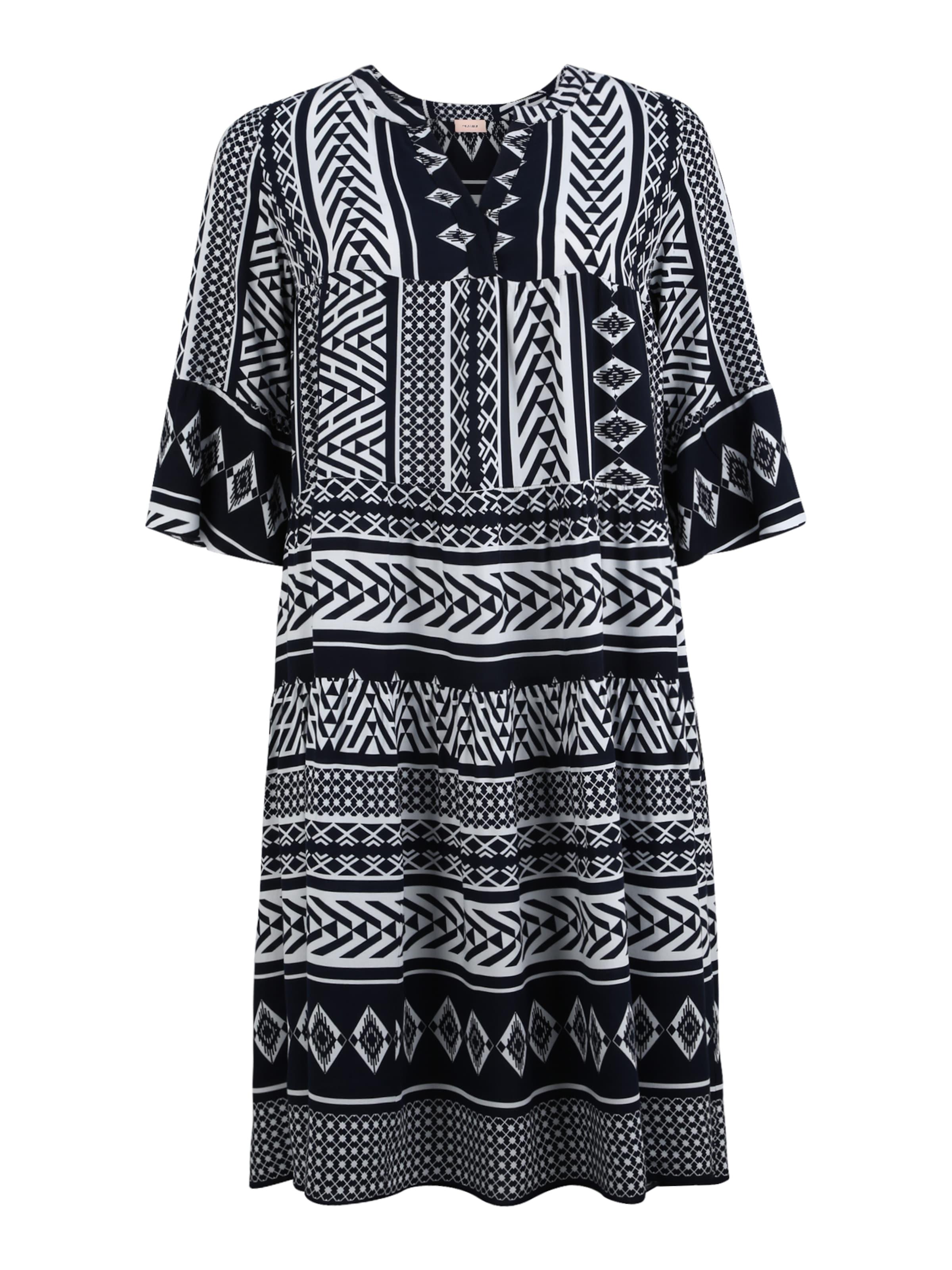 TRIANGLE Skjortklänning i mörkblå / vit