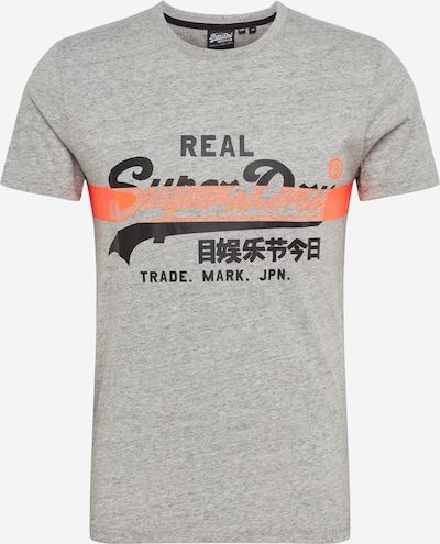 Superdry T-Shirt in graumeliert / koralle / schwarz, Produktansicht
