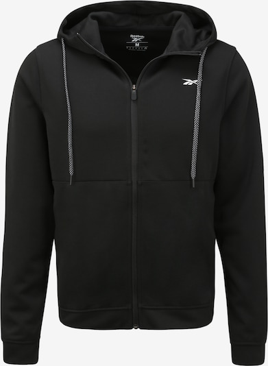 REEBOK Sportsweatvest 'WOR DBL KN FZ HOOD' in de kleur Zwart, Productweergave