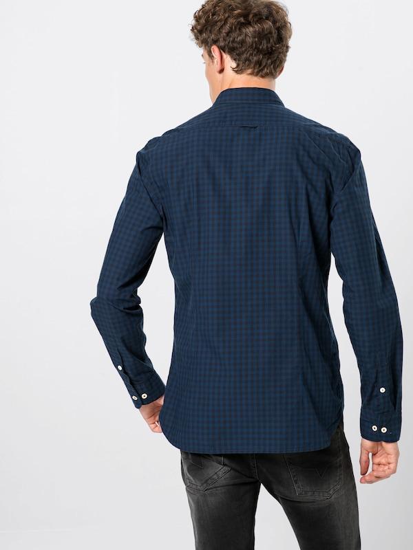 Faci Shaped' N long Sleeve Marc O'polo Bleu Foncé genuine And En 100co Chemise 'button Dow F3lK1JcT