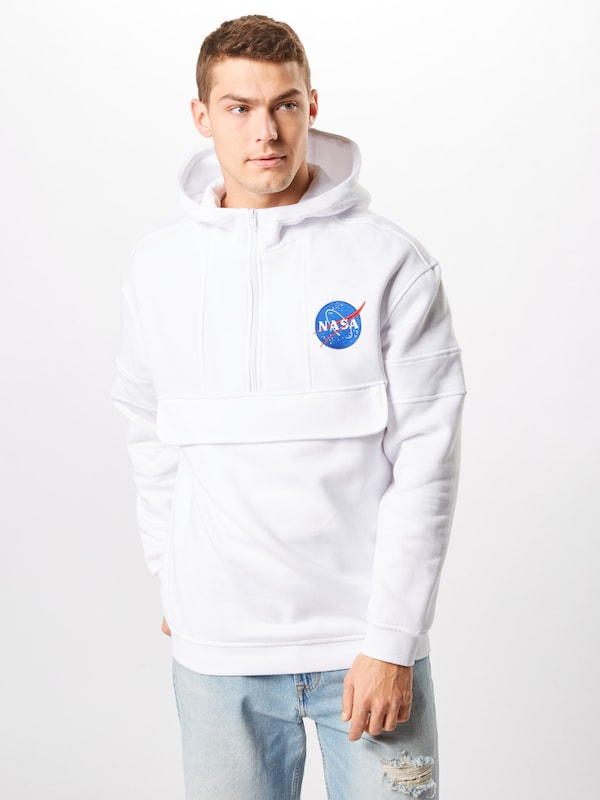 Mister Tee Sweatjacke 'NASA Chest Embroidery Pull Over Hoody' in weiß, Produktansicht