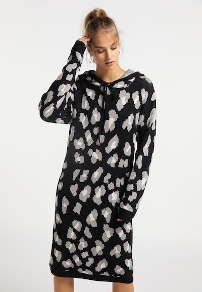 MYMO Strickkleid in grau / schwarz / weiß, Modelansicht