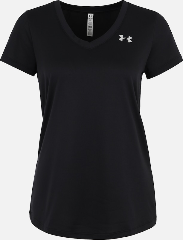 UNDER ARMOUR Fitness-Shirt 'Tech Solid' in silbergrau / schwarz, Produktansicht