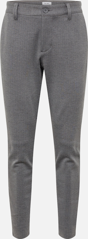 Only & Sons Chino 'onsMARK PANT STRIPE GW 3727 NOOS' in de kleur Grijs, Productweergave