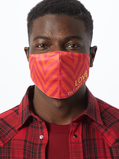 DELICATELOVE Stoffmaske 'LOVE' in orange / pink: Frontalansicht