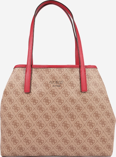 GUESS Shopper 'Vikky' in braun / rot: Frontalansicht