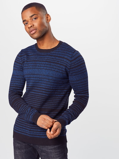 TOM TAILOR Trui 'striped sweater' in de kleur Blauw: Vooraanzicht