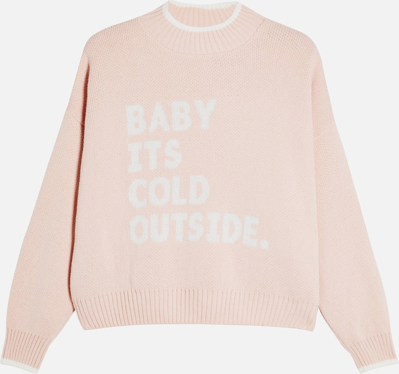 Miss Selfridge Pullover 'Baby its cold outside' in pink / weiß, Produktansicht