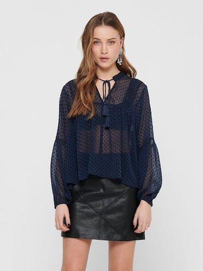 ONLY Bluse 'ONLNEW ELISA DOT DNM BLOUSE FF' in blau, Modelansicht