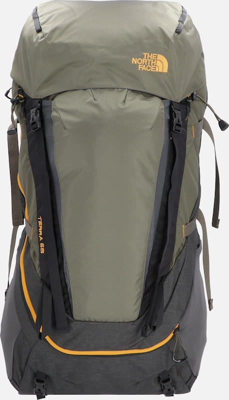THE NORTH FACE Rucksack 'Terra 65' in dunkelgelb / grau / oliv: Frontalansicht