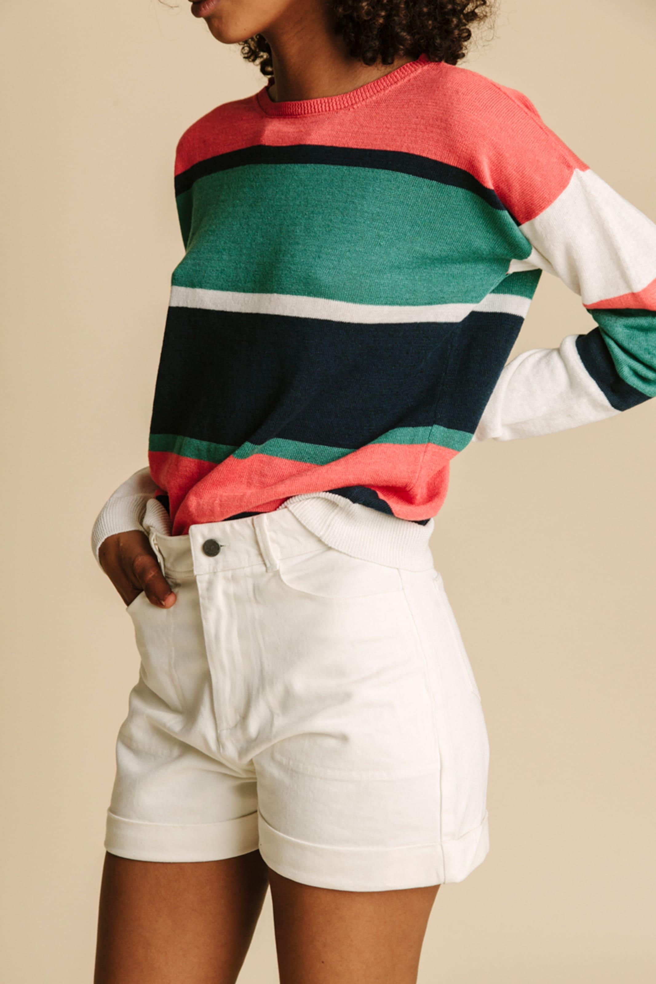 Thinking MU Pullover in grün / rot / weiß