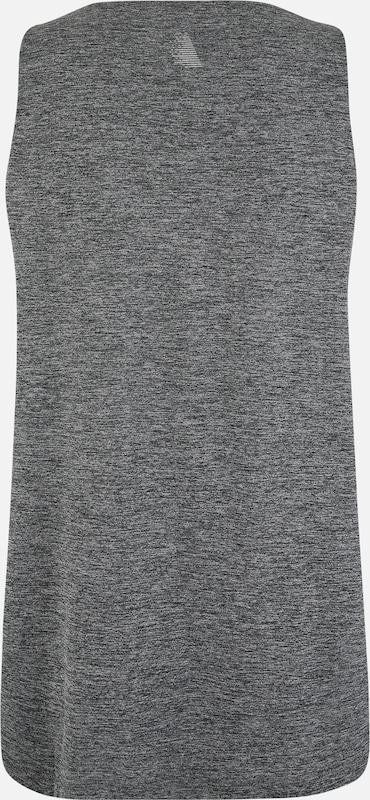 Active by Zizzi Sporttop 'AFRANCISCO, S/L, BLOUSE' in dunkelgrau / graumeliert: Rückansicht