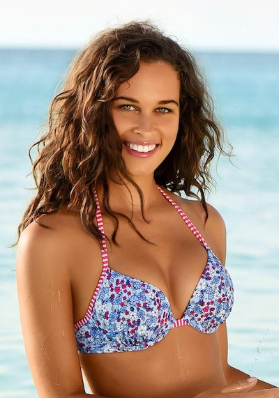 s.Oliver Bikini top 'Jill' in Royal blue / Light blue / Cranberry / White, View model