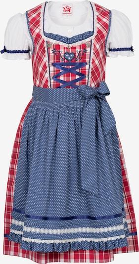 SPIETH & WENSKY Dirndl 'Gardenie' in royalblau / rot / weiß, Produktansicht