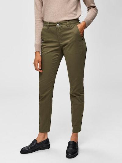 Pantaloni eleganți SELECTED FEMME pe oliv, Vizualizare model
