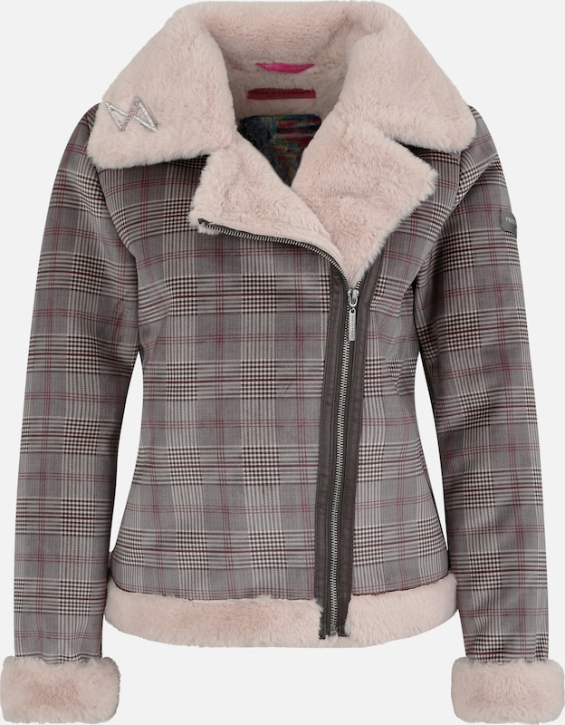 Frieda & Freddies Jacke 'CHECKER' in taupe: Frontalansicht