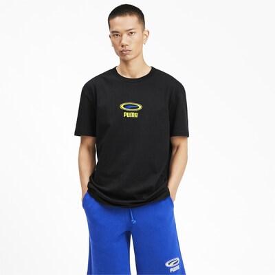 PUMA T-Shirt in blau / limone / schwarz: Frontalansicht