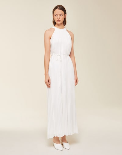 IVY & OAK Maxi Plissee Kleid mit Neckholder in weiß, Modelansicht