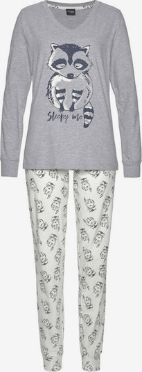 VIVANCE Pyjama in graumeliert / weiß, Produktansicht