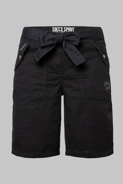 Soccx Bermuda mit tonigen Tapes und Stickerei in schwarz, Produktansicht