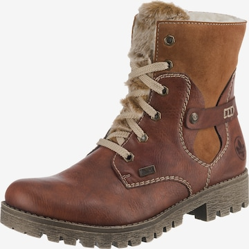 RIEKER Lace-Up Ankle Boots in Brown