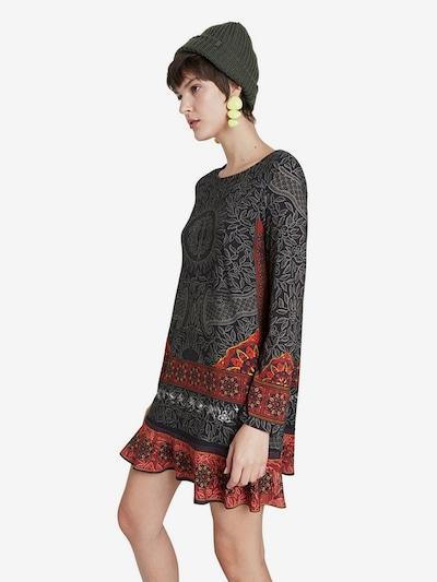 Desigual Kleid 'NAGOYA' in grau / orange / rot / schwarz, Modelansicht