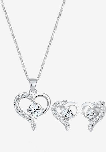 ELLI Schmuckset Herz Halskette Ohrring in silber, Produktansicht