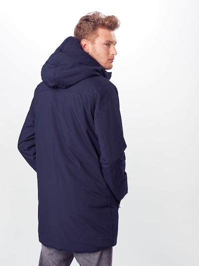 KnowledgeCotton Apparel Winterjas in de kleur Donkerblauw: Achteraanzicht