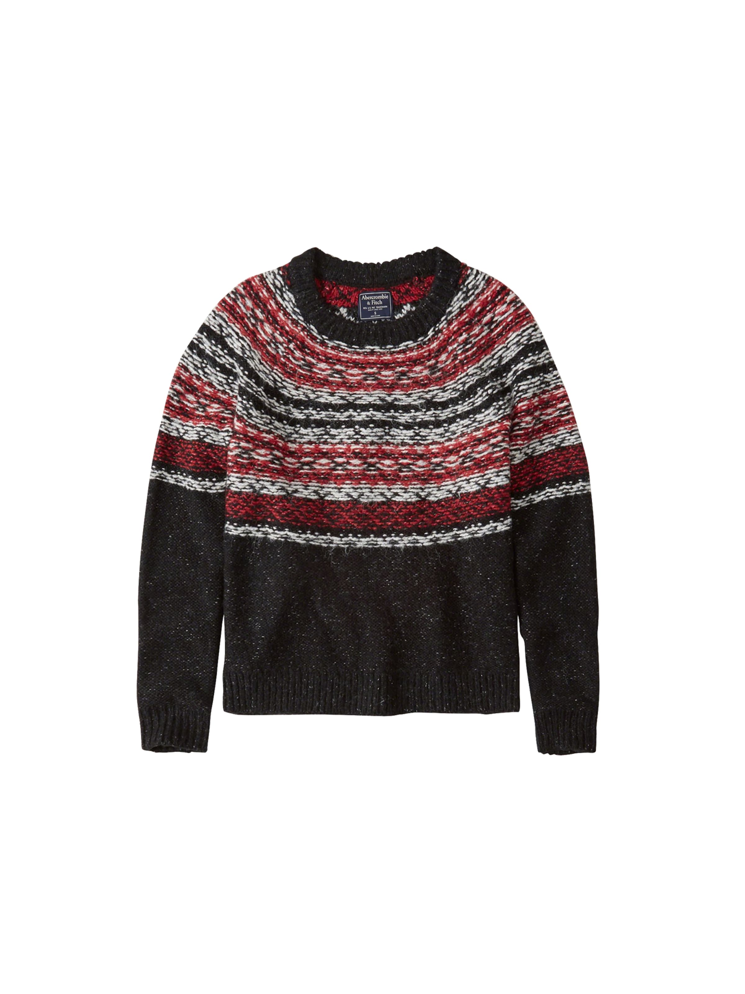 'snowflake RougeNoir Blanc Crew' Pattern En Abercrombieamp; Fitch Pull over 7Yb6gfy