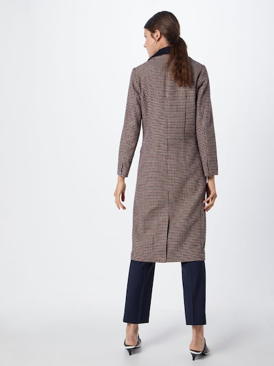 re.draft Mantel 'Houndstooth Coat' in champagner / navy / rot: Rückansicht
