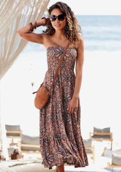 LASCANA Vêtement de plage en marron / jaune / gris / rose / rouge / noir, Vue avec modèle