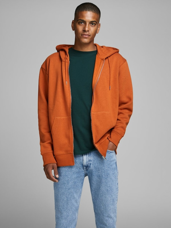 JACK & JONES Sweatjacke in orange: Frontalansicht